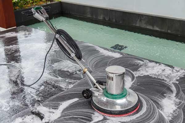 cleaning black granite tiled floor