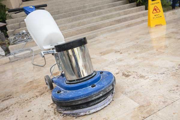 close up blur polishing machine stone floor
